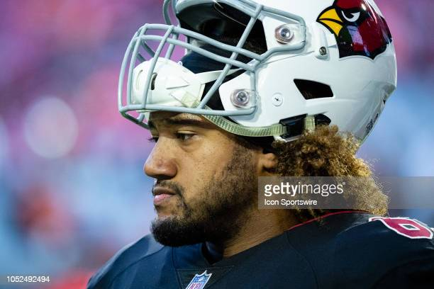 Arizona Cardinals center Daniel Munyer stands on the sideline during NFL football game between the Arizona Cardinals and the Denver Broncos on...