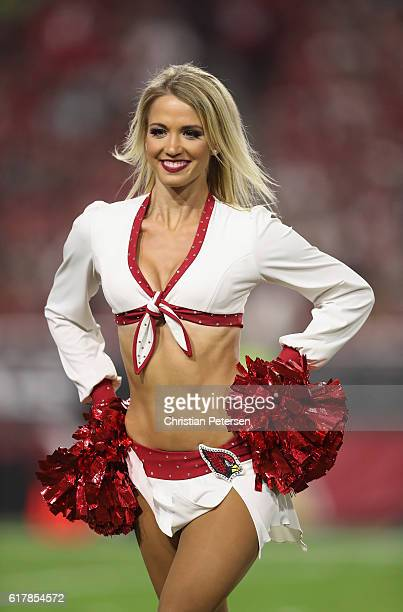 Arizona Cardinals cheerleader performs during the NFL game against the Seattle Seahawks at the University of Phoenix Stadium on October 23 2016 in...
