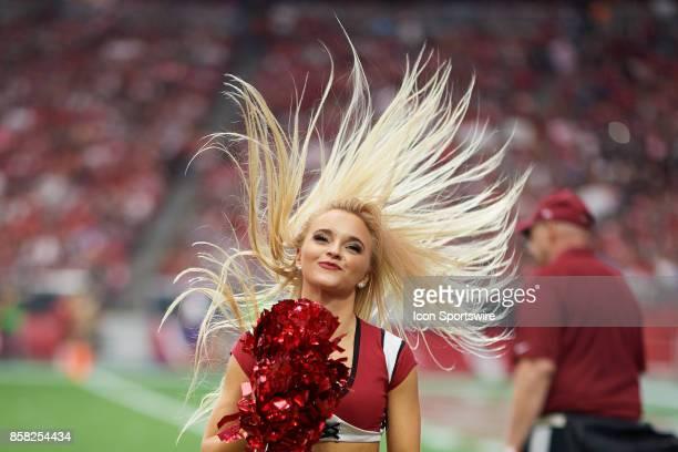 Arizona Cardinals cheerleader performs during the NFL game between the Arizona Cardinals and San Francisco 49ers at the University of Phoenix Stadium...