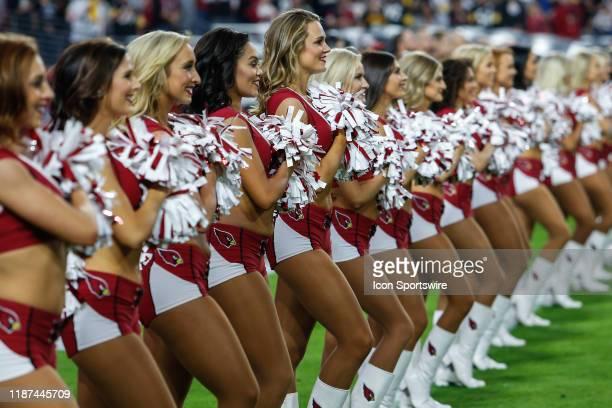 Arizona Cardinals cheerleaders line up before the NFL football game between the Pittsburgh Steelers and the Arizona Cardinals on December 8 2019 at...