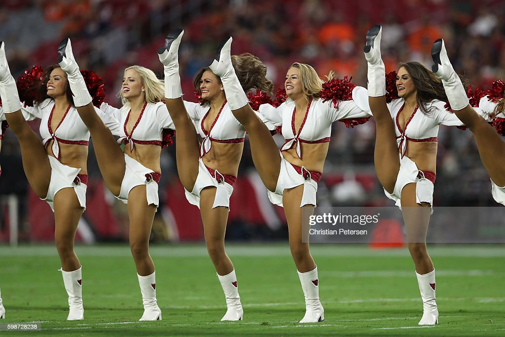 Arizona Cardinals cheerleaders perform during the preseaon NFL game against the Denver Broncos at the University of Phoenix Stadium on September 1, 2016 in Glendale, Arizona. The Cardinals defeated the Broncos 38-17.
