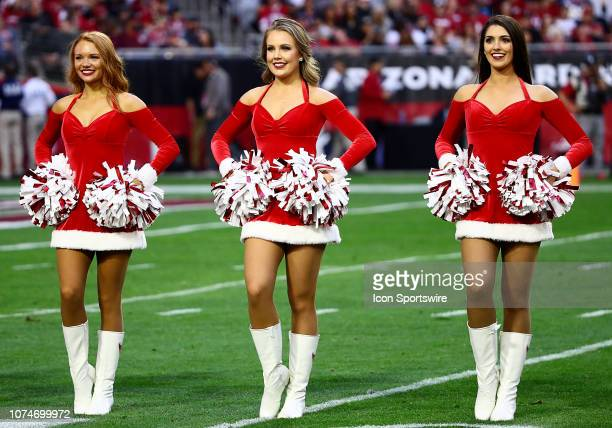 Arizona Cardinals cheerleaders perform on the field during the NFL football game between the Arizona Cardinals and the Los Angeles Rams on December...