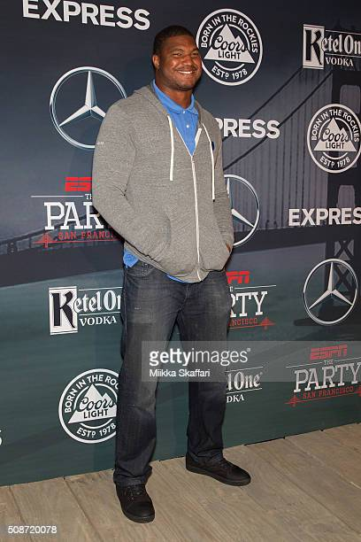 Arizona Cardinals defensive end Calais Campbell arrives at the annual ESPN The Party at Fort Mason Center on February 5 2016 in San Francisco...