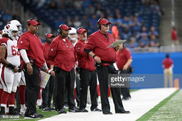 Arizona Cardinals head coach Bruce Arians is seen during the second half of an NFL football game against the Detroit Lions in Detroit Michigan USA on...