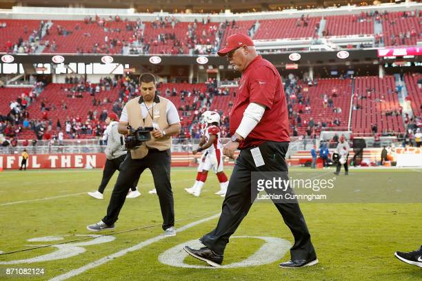 Arizona Cardinals head coach Bruce Arians leaves the field after a win against the San Francisco 49ers at Levi's Stadium on November 5 2017 in Santa...