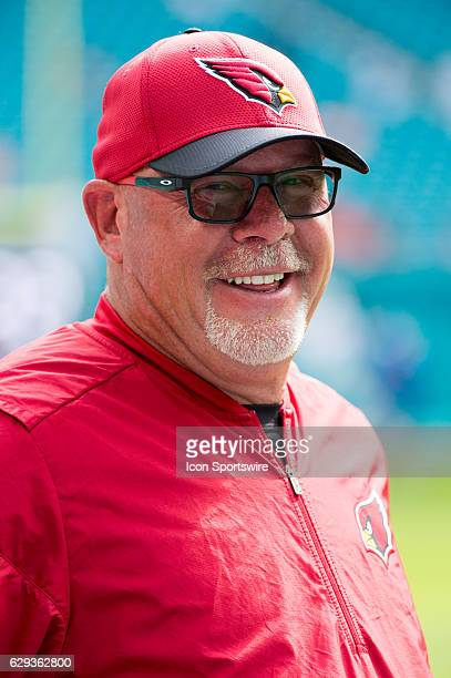 Arizona Cardinals Head Coach Bruce Arians smiles on the sidelines before the start of the NFL football game between the Arizona Cardinals and the...