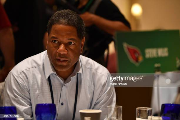 Arizona Cardinals head coach Steve Wilks answers questions during the AFC NFC coaches breakfast at the 2018 NFL Annual Meetings at the Ritz Carlton...