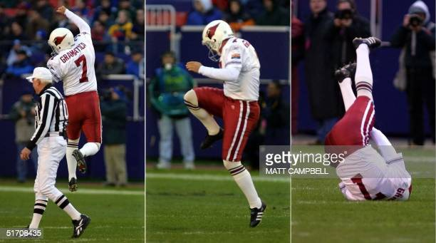 Arizona Cardinals kicker Bill Grammatica leaps into the air to celebrate a short field goal then pulls up his right leg and collapses to the ground...