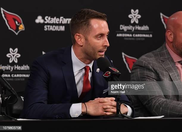 Arizona Cardinals new head coach Kliff Kingsbury talks to the media at the Arizona Cardinals Training Facility on January 9 2019 in Tempe Arizona