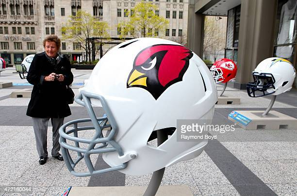 Arizona Cardinals NFL football helmet is on display in Pioneer Court to commemorate the NFL Draft 2015 in Chicago on April 30 2015 in Chicago Illinois