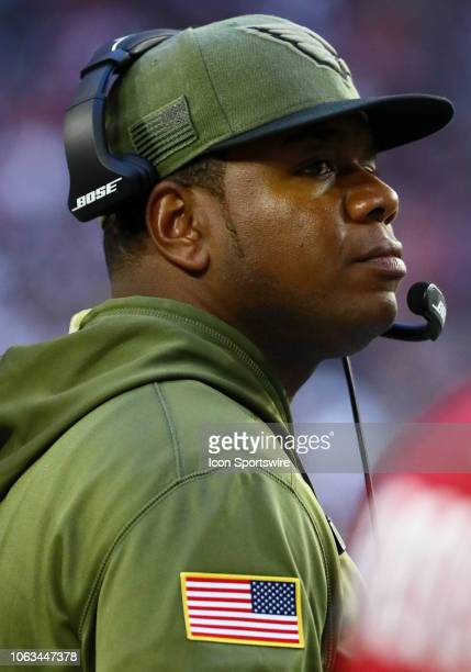 Arizona Cardinals Offensive Coordinate Byron Leftwich stands on the sideline during the NFL football game between the Arizona Cardinals and the...
