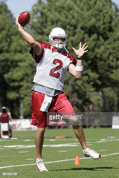 Arizona Cardinals quarterback Brian St Pierre unleashes a pass during training camp on August 7 2009 in Flagstaff Arizona