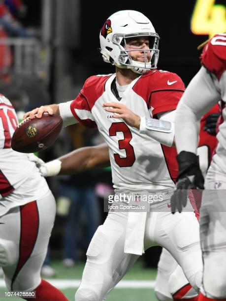 Arizona Cardinals Quarterback Josh Rosen looks for a receiver during the game between the Arizona Cardinals and the Atlanta Falcons on December 16 at...