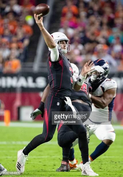 Arizona Cardinals quarterback Josh Rosen passes the ball during NFL football game between the Arizona Cardinals and the Denver Broncos on October 18...