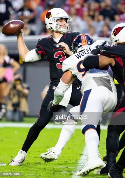 Arizona Cardinals quarterback Josh Rosen throws a pass during NFL football game between the Arizona Cardinals and the Denver Broncos on October 18...