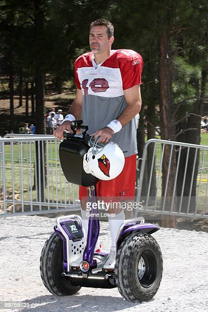 Arizona Cardinals quarterback Kurt Warner on his segway during training camp on August 7 2009 in Flagstaff Arizona