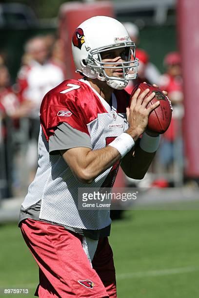 Arizona Cardinals quarterback Matt Leinart looks to make a pass during training camp on August 7 2009 in Flagstaff Arizona