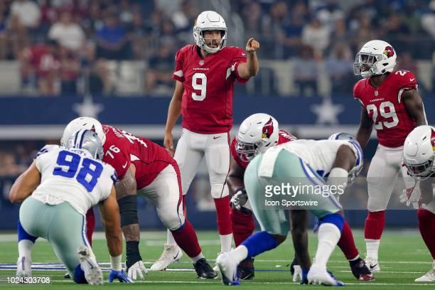 Arizona Cardinals quarterback Sam Bradford calls out the signals during the preseason football game between the Dallas Cowboys and Arizona Cardinals...
