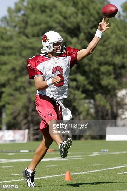 Arizona Cardinals quarterback Tyler Palko passes the ball during training camp on August 7 2009 in Flagstaff Arizona