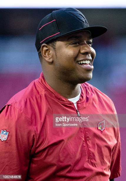 Arizona Cardinals Quarterbacks Coach Byron Leftwich smile on the sidelines during NFL football game between the Arizona Cardinals and the Denver...