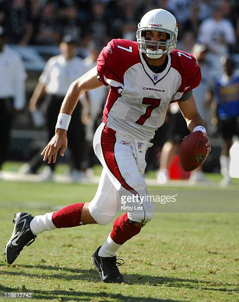 Arizona Cardinals rookie quarterback Matt Leinart scrambles during 229 loss to the Oakland Raiders at McAfee Coliseum in Oakland Calif on Sunday...