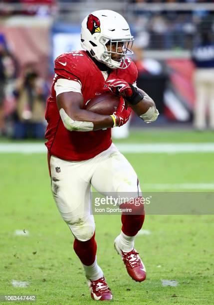Arizona Cardinals running back David Johnson runs the ball during the NFL football game between the Arizona Cardinals and the Oakland Raiders on...