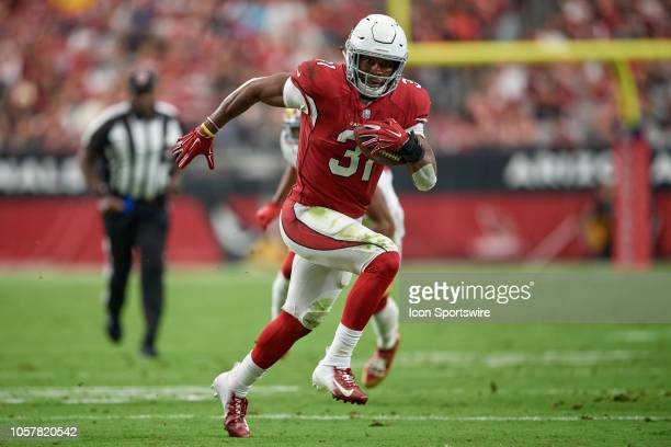Arizona Cardinals running back David Johnson runs with the football in game action during an NFL game between the Arizona Cardinals and the San...