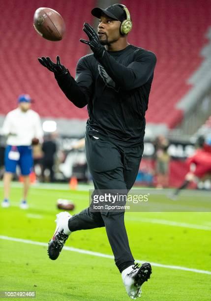 Arizona Cardinals running back David Johnson warms up before NFL football game between the Arizona Cardinals and the Denver Broncos on October 18...
