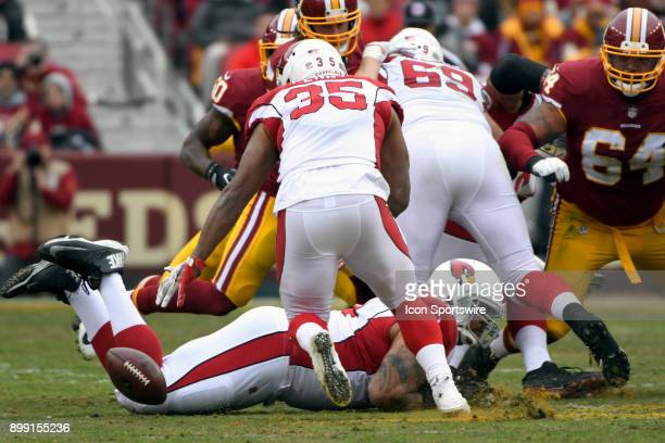 Arizona Cardinals running back Elijhaa Penny fumbles a hand off against Washington Redskins defensive tackle AJ Francis on December 17 at FedEx Field...