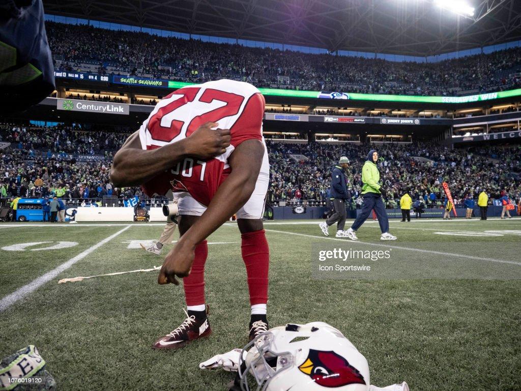 best service 9ca2e b5428 Arizona Cardinals Running Back T.J. Logan removes his jersey ...