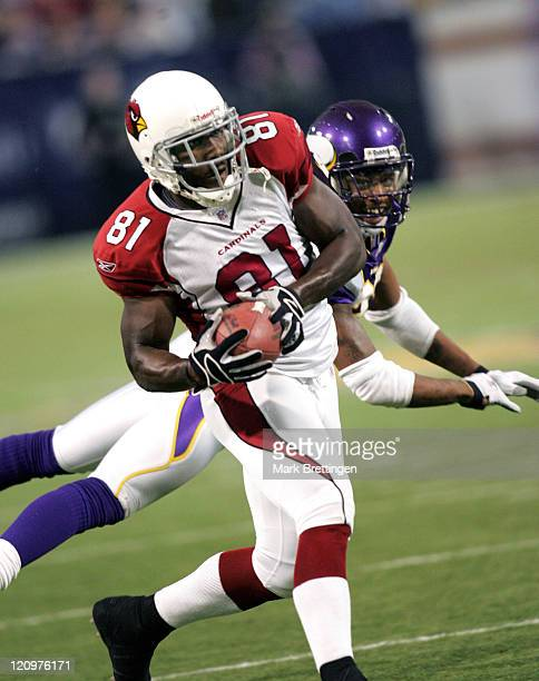 Arizona Cardinals wide receiver Anquan Bolden catches a pass during the fourth quarter of a game against the Minnesota Vikings on November 26 2006 in...