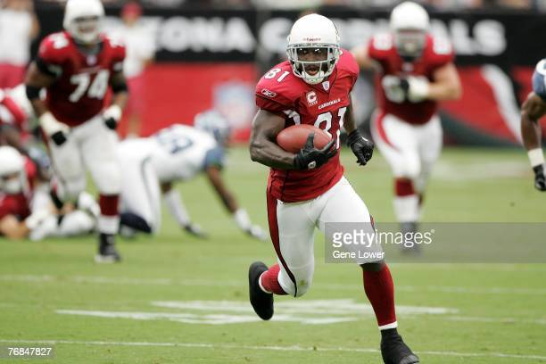 Arizona Cardinals wide receiver Anquan Boldin runs for extra yards during a game against the Seattle Seahawks on September 16, 2007 at the University...