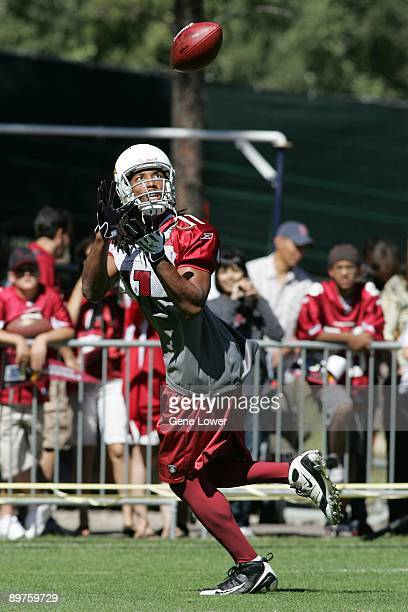 Arizona Cardinals wide receiver Larry Fitzgerald makes a catch during training camp on August 7 2009 in Flagstaff Arizona