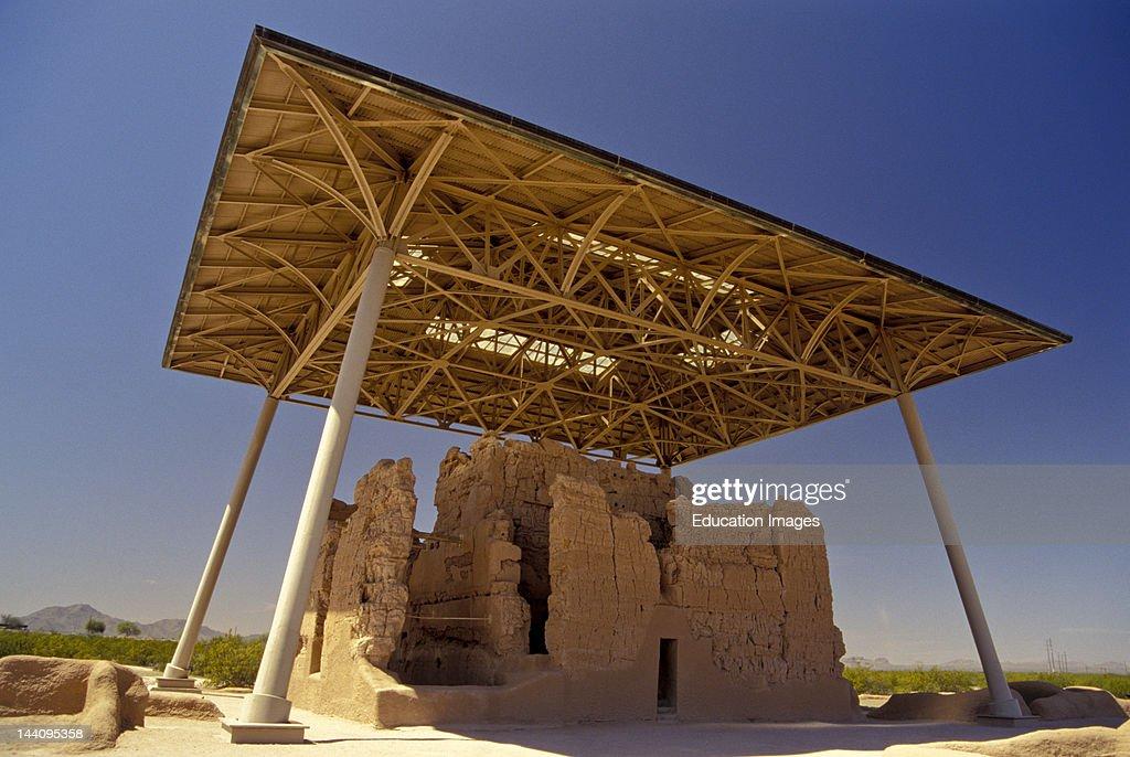 Arizona, Casa Grande National Monument, Ruin Protected By Canopy. : News Photo