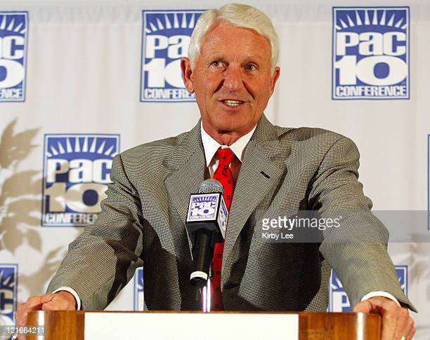 Arizona coach Lute Olson speaks at the Pacific10 Conference Basketball Media Day at the Hilton Los Angeles Airport in Los Angeles Calif on Wednesday...