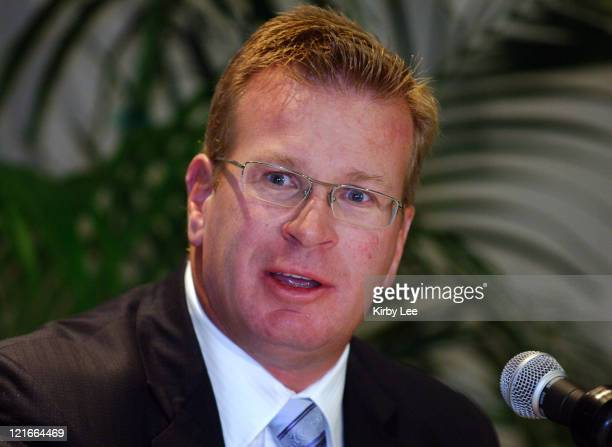 Arizona coach Mike Stoops at Pacific10 Conference Football Media Day at the Sheraton Gateway in Los Angeles Calif on Thursday July 27 2006