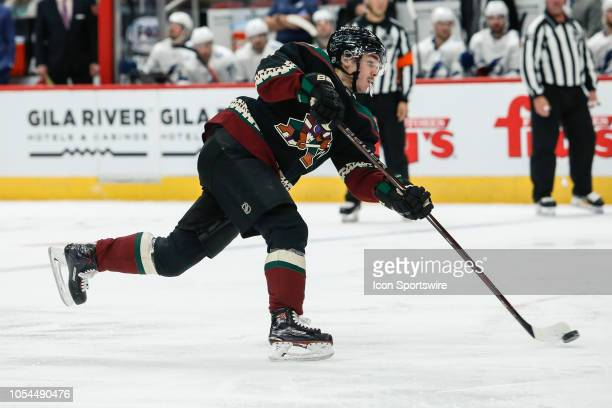 Arizona Coyotes center Clayton Keller takes a shot during the NHL hockey game between the Tampa Bay Lightning and the Arizona Coyotes on October 27,...
