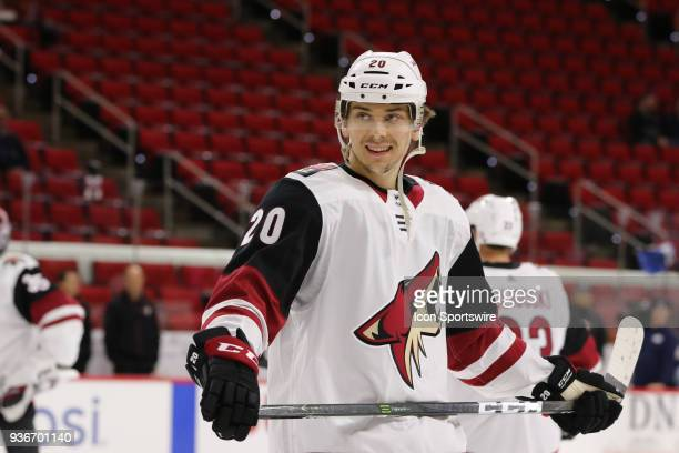 Arizona Coyotes Center Dylan Strome during the warmups of the Carolina Hurricanes game versus the Arizona Coyotes on March 22 at PNC Arena in Raleigh...