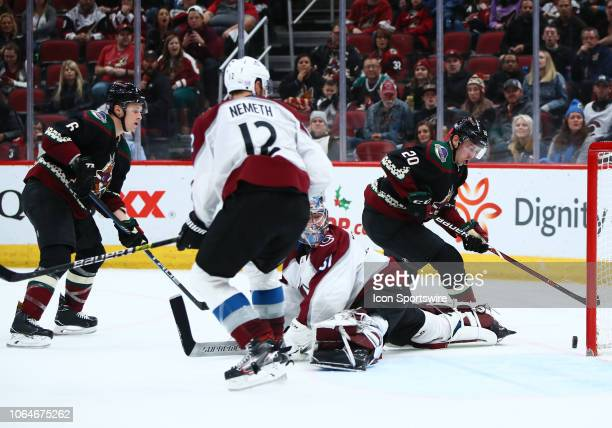 Arizona Coyotes center Dylan Strome score a goal during the NHL hockey game between the Arizona Coyotes and the Colorado Avalanche on November 23...