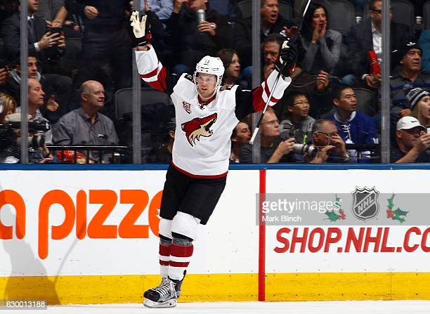 Arizona Coyotes center Peter Holland celebrates after scoring the shootout winner against the Toronto Maple Leafs at the Air Canada Centre on...