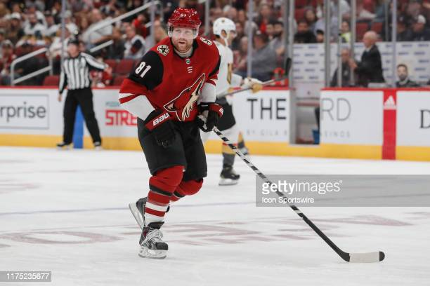 Arizona Coyotes center Phil Kessel skates during the NHL hockey game between the Vegas Golden Knights and the Arizona Coyotes on October 10 2019 at...