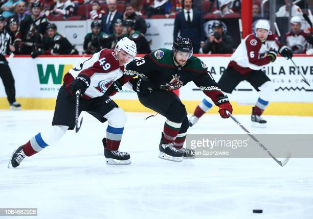 Arizona Coyotes center Vinnie Hinostroza battles for the puck during the NHL hockey game between the Arizona Coyotes and the Colorado Avalanche on...