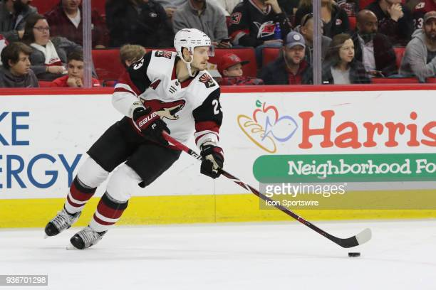 Arizona Coyotes Defenceman Oliver EkmanLarsson during the 1st period of the Carolina Hurricanes game versus the Arizona Coyotes on March 22 at PNC...