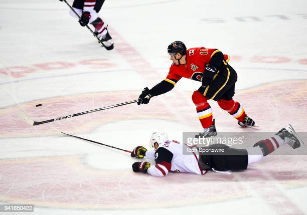 Arizona Coyotes Defenceman Oliver EkmanLarsson lunges to knock the puck away from Calgary Flames Center Mikael Backlund during the second period of...