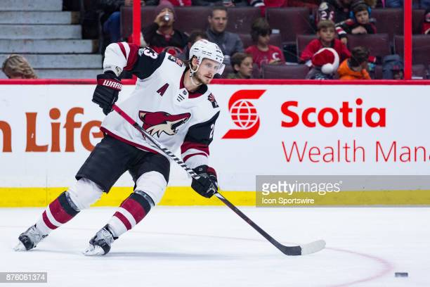 Arizona Coyotes Defenceman Oliver EkmanLarsson prepares to receive a pass during second period National Hockey League action between the Arizona...