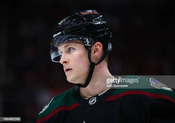 Arizona Coyotes defenseman Jakob Chychrun prepares for a faceoff during the NHL hockey game between the Arizona Coyotes and the Colorado Avalanche on...