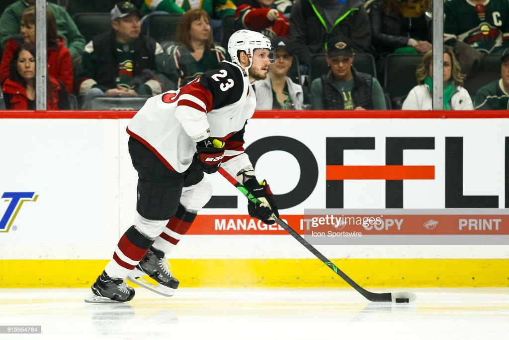 Arizona Coyotes defenseman Oliver Ekman-Larsson (23) in action in the 1st period during the Western Conference game between the Arizona Coyotes and the Minnesota Wild on February 8, 2018 at Xcel Energy Center in St. Paul, Minnesota.