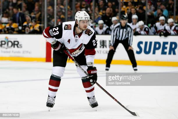 Arizona Coyotes defenseman Oliver EkmanLarsson sets up for the face off in the offensive zone during a game between the Boston Bruins and the Phoenix...