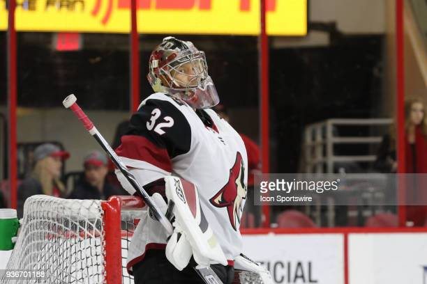 Arizona Coyotes Goalie Antti Raanta during the warmups of the Carolina Hurricanes game versus the Arizona Coyotes on March 22 at PNC Arena in Raleigh...