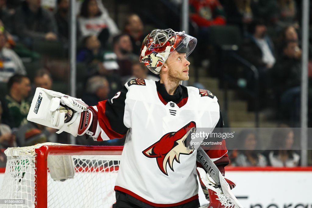Arizona Coyotes goalie Antti Raanta (32) looks on during the Western Conference game between the Arizona Coyotes and the Minnesota Wild on February 8, 2018 at Xcel Energy Center in St. Paul, Minnesota.